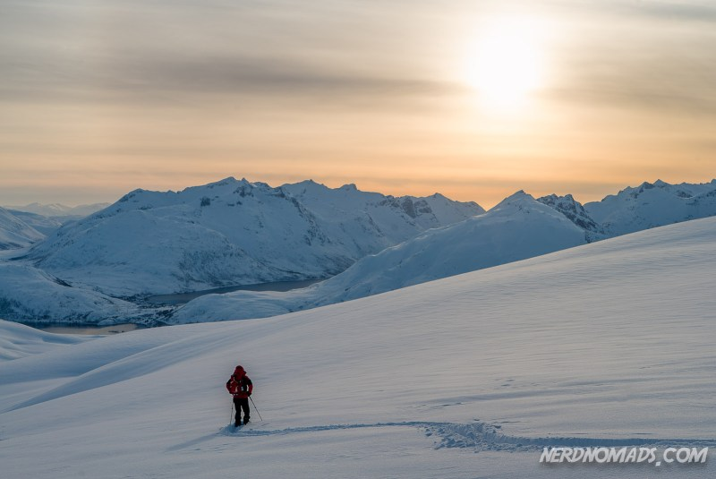 Skiing in the midnight sun in Tromso, Norway