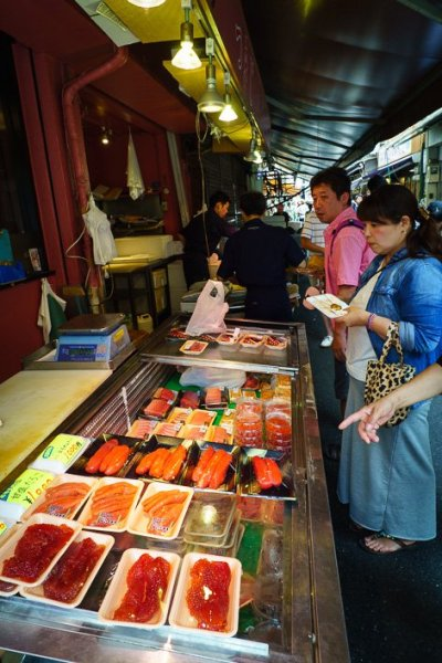 All kinds of sushi are sold at the Tsukiji Fish Market in Tokyo