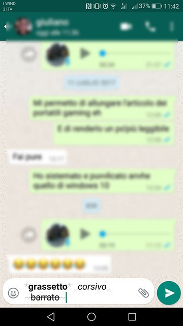 whatsapp grassetto corsivo barrato