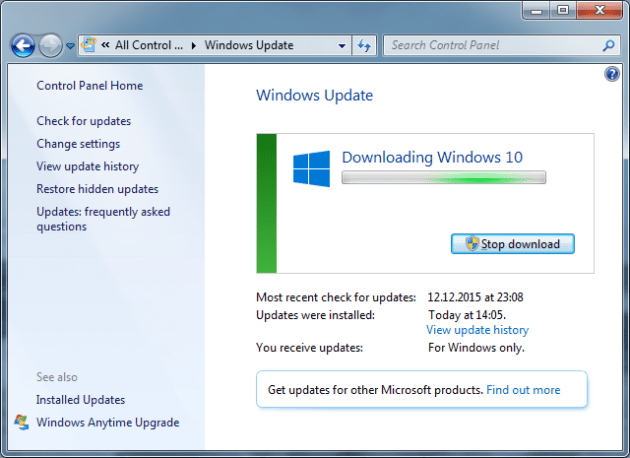 Upgrade to Windows 10 in Windows 7 Download