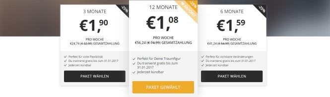 Screenshot: Preise Gymondo.de