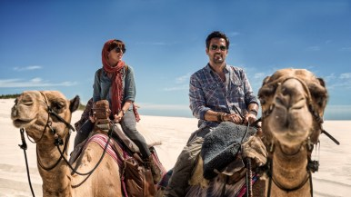 Episode 5 Scene 24: Danakil Desert ~ Exterior (Daylight); Alex (OPHELIA LOVIBOND) and Hooten (MICHAEL LANDES) ride across the dunes and he impresses her with his biblical knowledge.