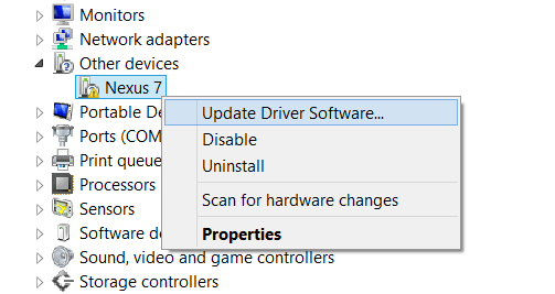 Nexus 7 Driver Installation