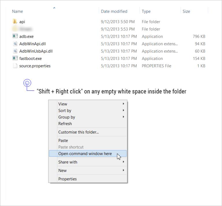 Open command window inside the folder