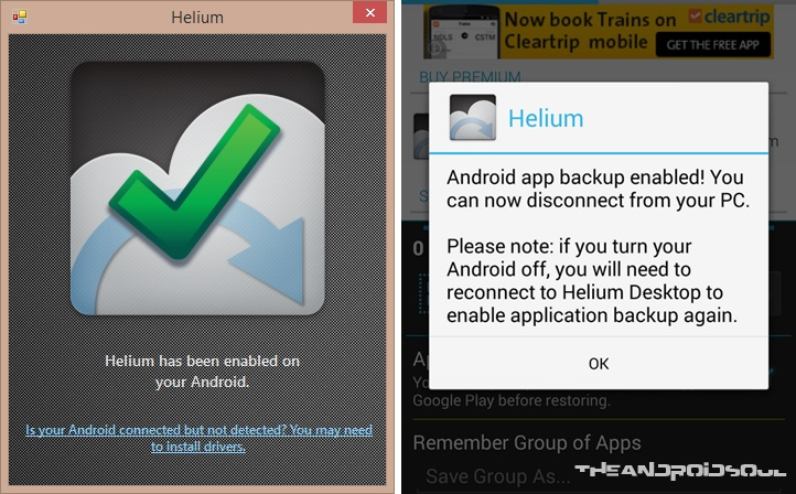 Helium Android App and Desktop Connection