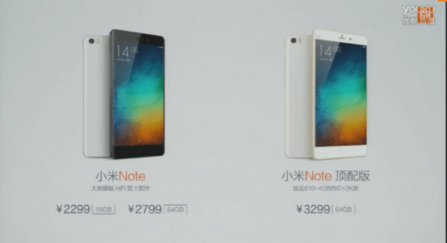 Xiaomi Mi Note Specs