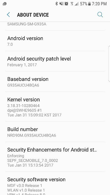 AT&T galaxy s7 Nougat update