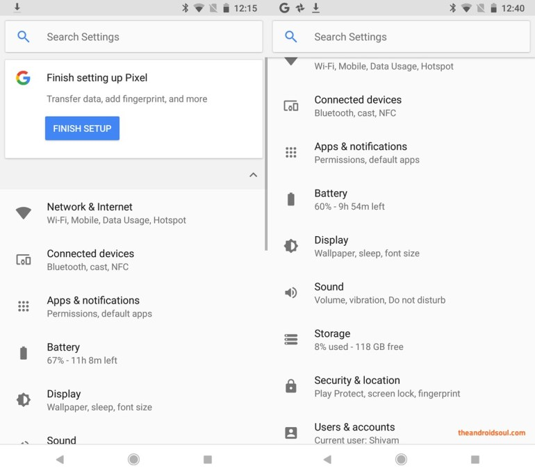 Android 8.1 settings new feature