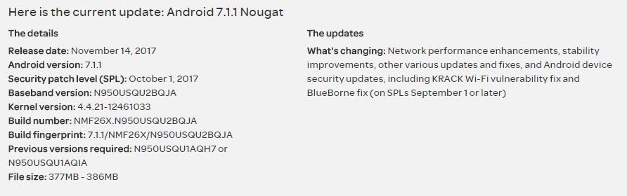 galaxy note 8 update