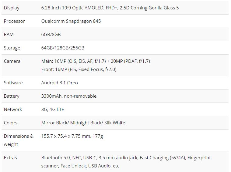 OnePlus 6 specs