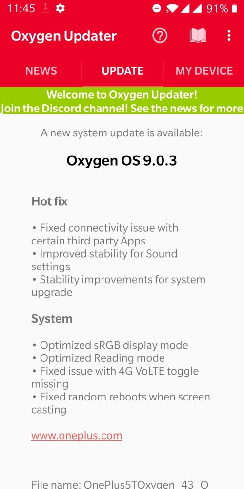 OnePlus 5 and 5T update