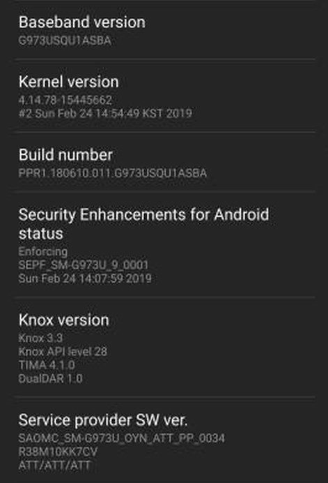 Galaxy S10 update AT&T