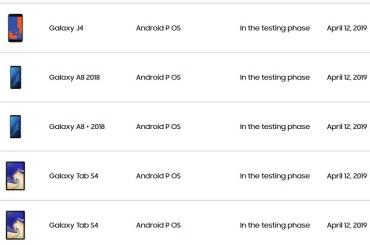 Samsung Galaxy Tab S4 and J4 Pie update