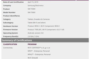 Samsung Galaxy Tab A 10.5 Pie update cleared