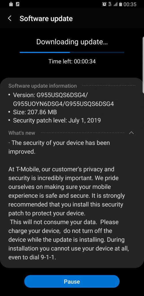 T-Mobile S10 July update