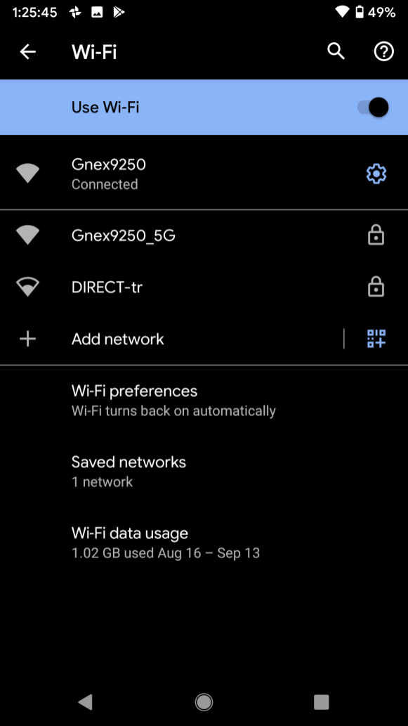Wi-Fi networks screen on Android 10