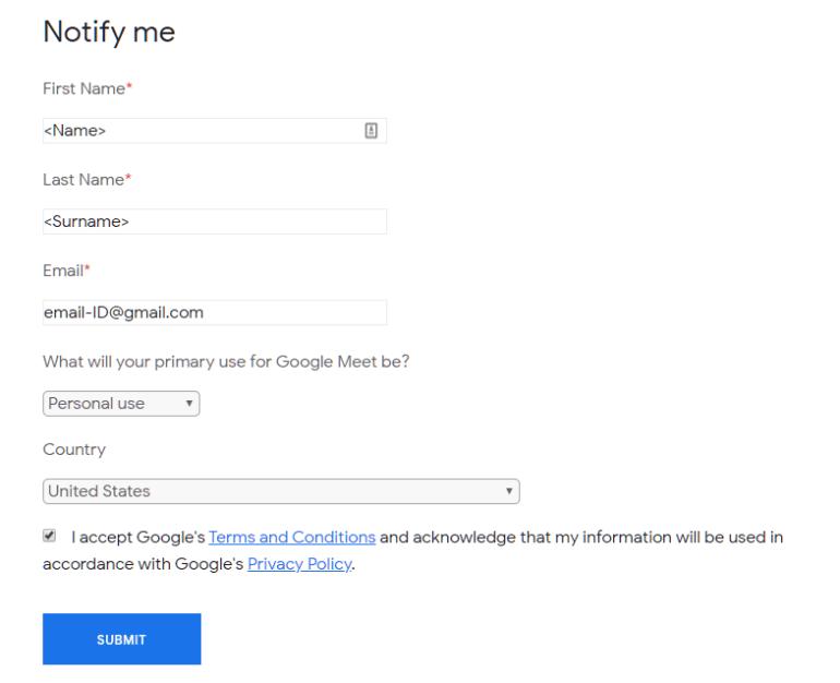 Google Meet Free requirement
