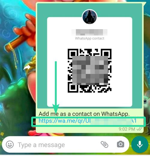Contact link with QR code