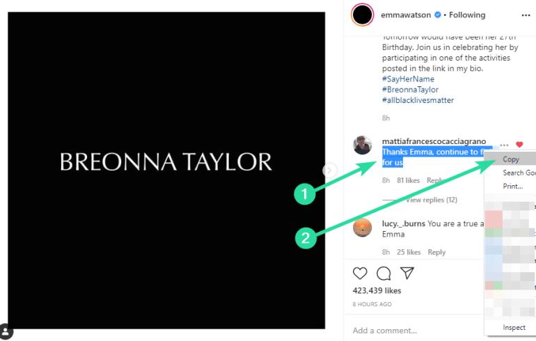 copy caption on Instagram on PC
