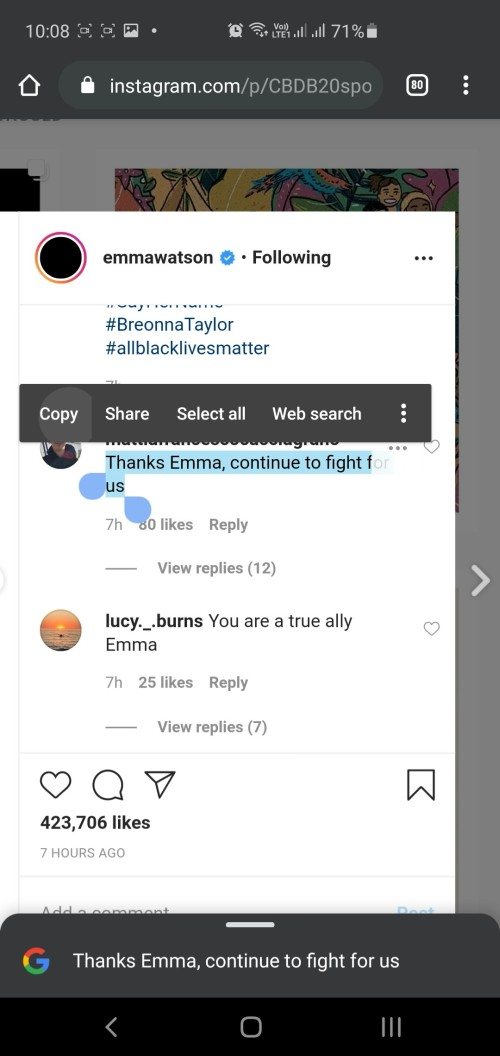 copy Instagram comment on phone
