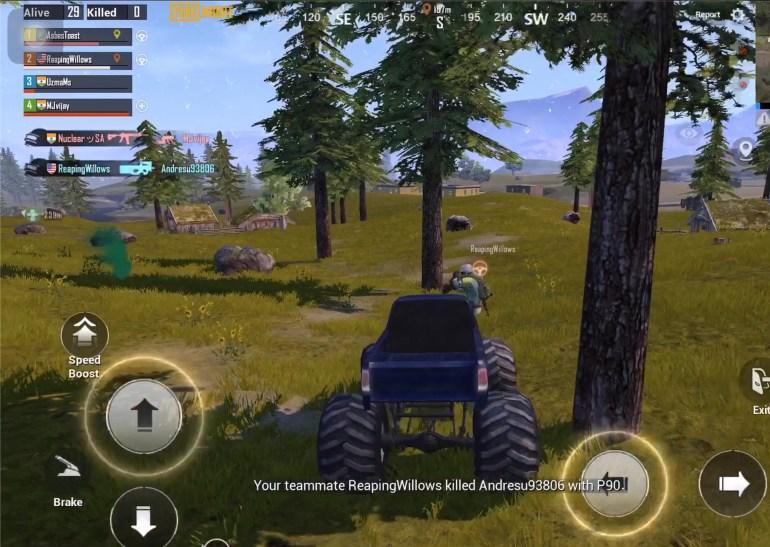 PUBG Mobile player killing enemy from Monster Truck