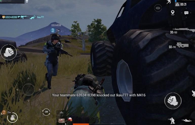 PUBG Mobile Monster Truck shielding downed player