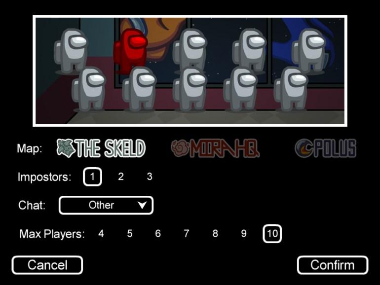 Among Us Online Game Options Menu