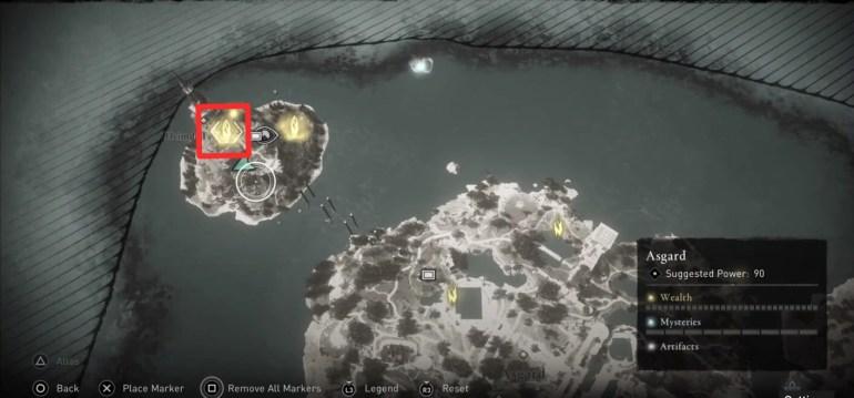 Assassin's Creed Valhalla Asgard Wealth Locations - Ymir's Tear Stone Location 01