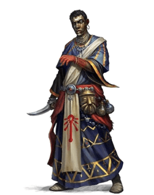 From the Lost Omens World Guide, a robed man with his left hand stained red and his face decorated with intricate designs, holds a dagger at the ready.