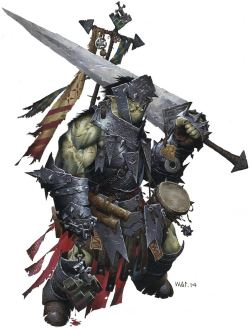 Pathfinder First Edition Cleric (Warpriest), Oloch, an orc with a mighty sword and tattered banner waving gently behind his heavily armored body.