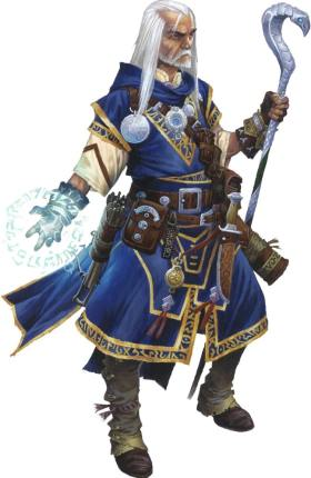 Pathfinder Second Edition Wizard, Ezren is an older man with gold-trimmed blue robs and a hooked staff of brilliant white.