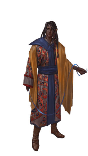Pathfinder Second Edition Rogue, an Anadi Rain-Scribe who is wearing a colorful set of blue-trimmed robes and a golden cloak.