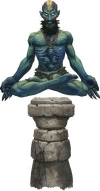 Pathfinder Second Edition Monk, Rudrakavala suspended above a stone pillar with the spectral shapes of skulls poking out from his ribcage.