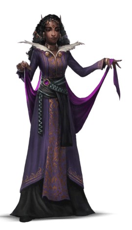 Pathfinder Second Edition Wizard, a Auideen elf clad in a deep purple gown. She has a bronze crown atop her flowing black hair.