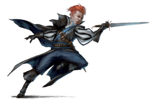 Pathfinder Second Edition Sorcerer, a handsome devil with fiery orange hair mid-pounce with his shortsword
