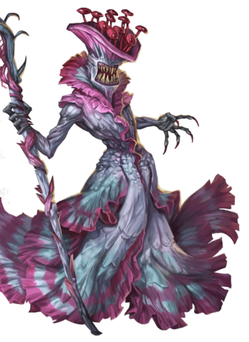 Pathfinder Second Edition Sorcerer, a bright purple fungus leshy with jagged teeth and a gorgeously-layered, iridescent gown.