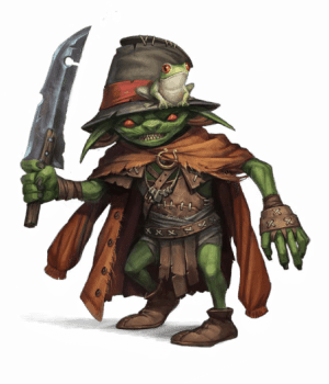 Pathfinder Second Edition Wizard, a Rasp Goblin with a floppy black hat and a pet frog. He brandishes a rudimentary short sword which wearing an auburn coat as a cloak.