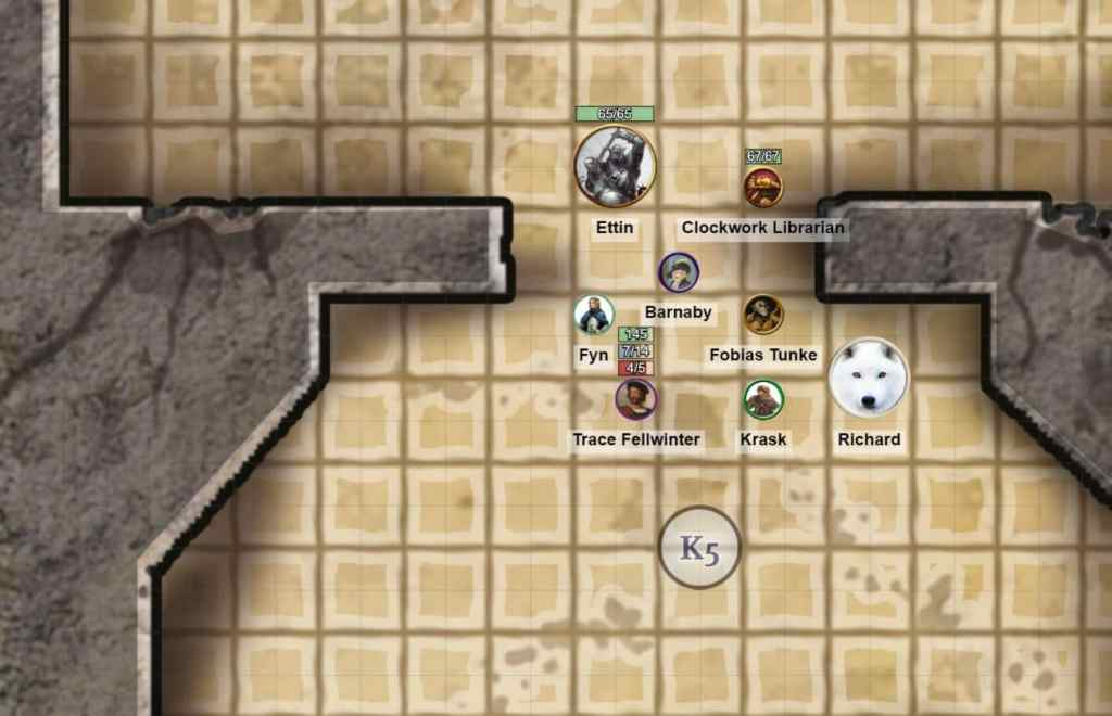 Roll20 Campaign view with the party facing off against an Ettin.