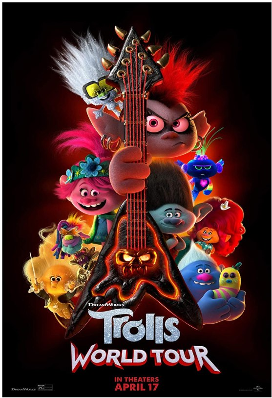 The movie poster for Trolls World Tour featuring many trolls around an electric guitar.