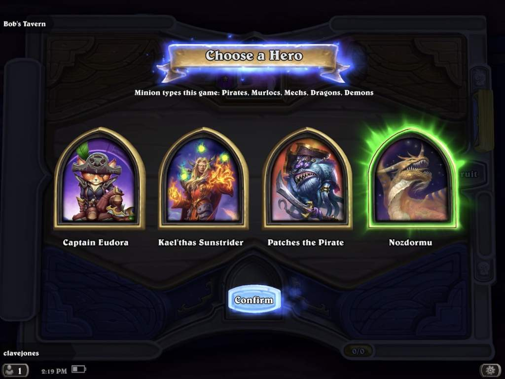 hearthstone battleground hero select screen