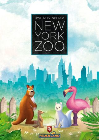 New York Zoo Board Game Cover, featuring a kangaroo, flamingo, and penguin.