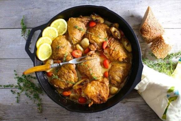 Skillet Chicken with Wine, Shallots and Mustard