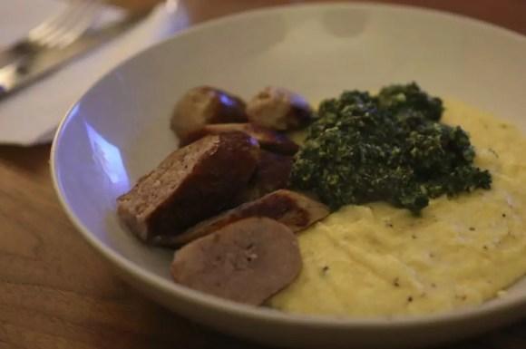 Sausage, creamy polenta, kale walnut pesto