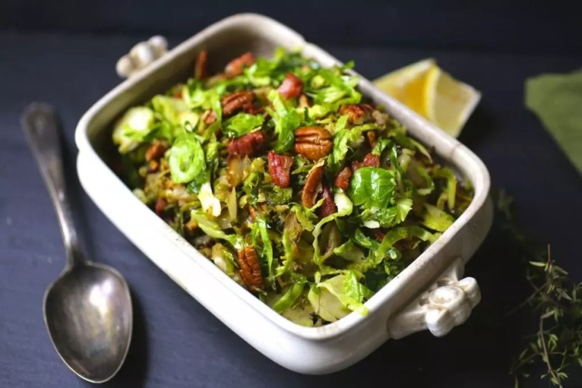Shredded Brussels Sprouts with Bacon and Pecans