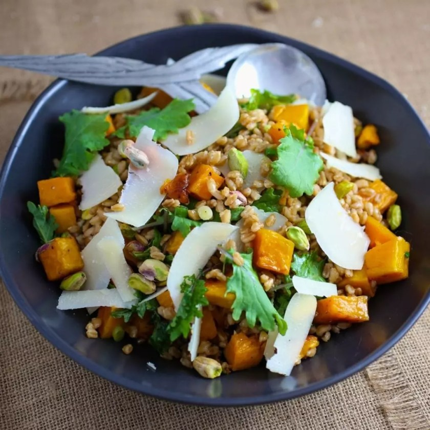 Farro Salad with Butternut Squash, Pistachios and Parmesan