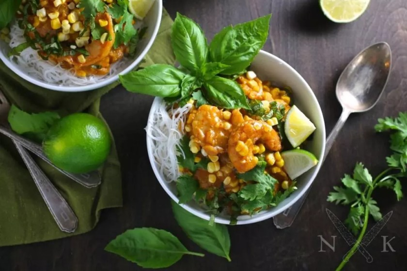 Shrimp Curry with Sweetcorn, Coconut and Noodles