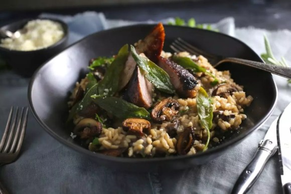 Creamy Mushroom Risotto with Crispy Sage (and Sausage)