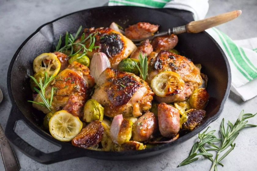 One-Pan Chicken with Sausages and Brussels Sprouts
