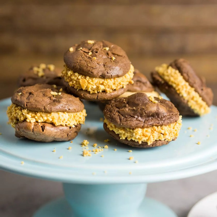 Brownie Cookies Filled With Peanut Butter Buttercream