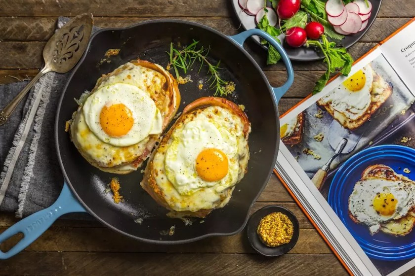 Two croquet madame sandwiches in a pan